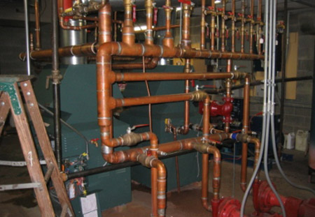 installation of boiler/hot water heating system