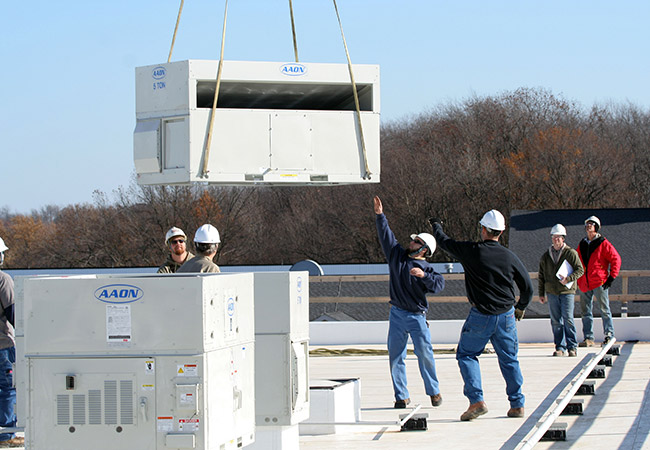 delivery of rooftop hvac at hartville marketplace