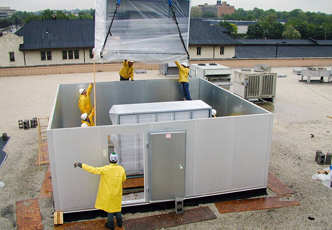 installation of rooftop hvac system